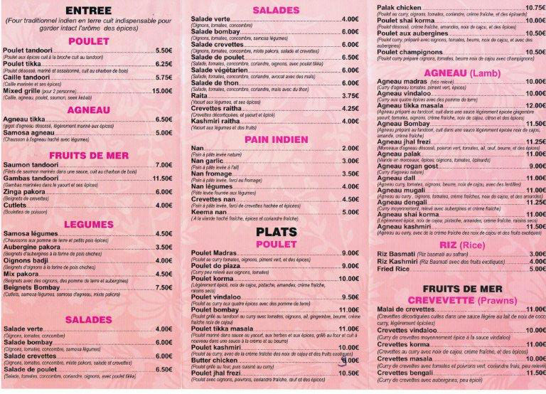Carte Indien Restaurant.Le Bombay Restaurants In Villeneuve Sur Lot